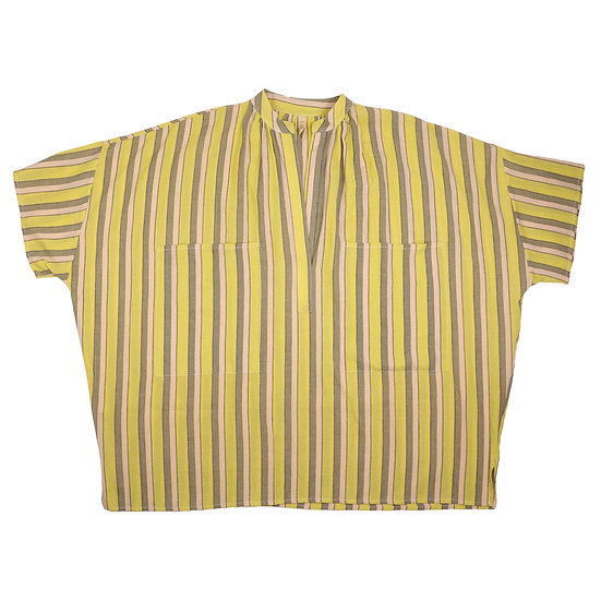 TwoTwo Pocket Short Sleeve Top Citron Stripe