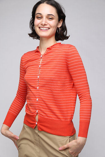 MJ WATSON EXTRA FINE KNIT CARDIGAN WITH MICRO STRIPES RED