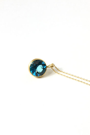 18K Blue Topaz City Pendant Necklace