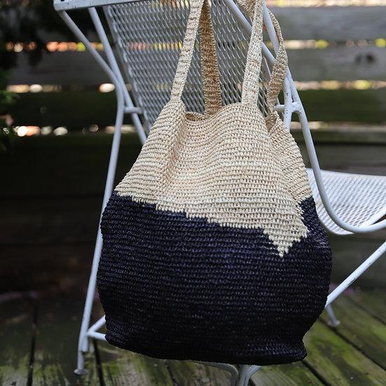 Acote Large Woven Bag Cream / Black