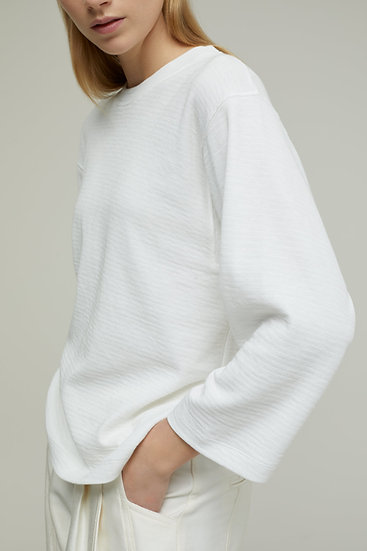 CLOSED LONG SLEEVE WAFFLE TOP WHITE
