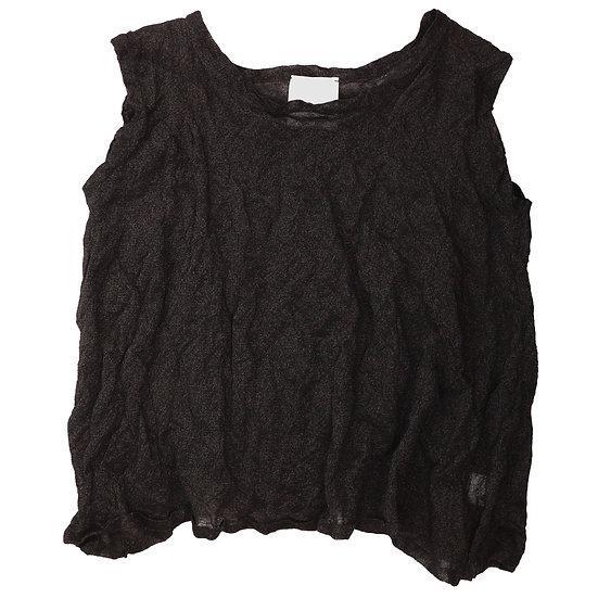 MJ Watson Black Knit Crinkle Tank