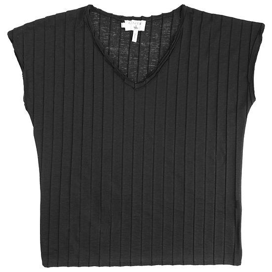 Cotelac Pleated Cap Sleeve T-shirt