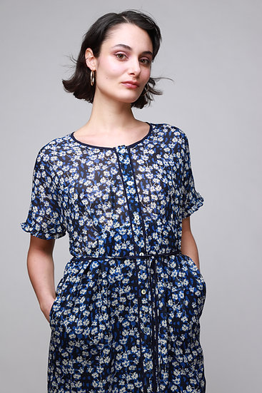 COTELAC BLUE TINY FLOWER SILK DRESS