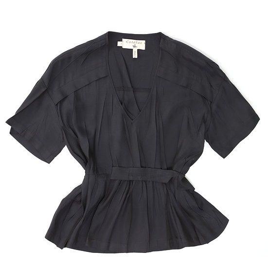 cotelac v-neck wrap blouse black