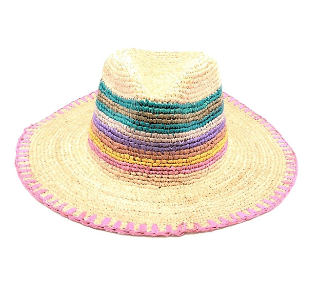 CROCHET RAFFIA COLORFUL SUN HAT
