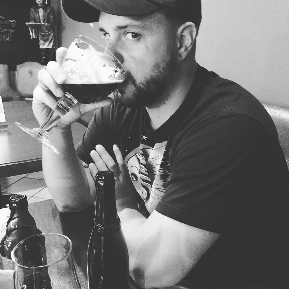 Mark sipping on Trappist Westvleteren 12