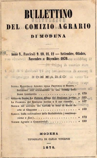 E.C. 1870 ORDINAMENTO DI UNA TENUTA LOMBARDA E PRINCIPALI INDUSTRIE CHE VI SI RIFERISCONO