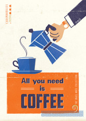 Retro Postcard Invitation ~ All you need is coffee ~ Snail Mail Collection