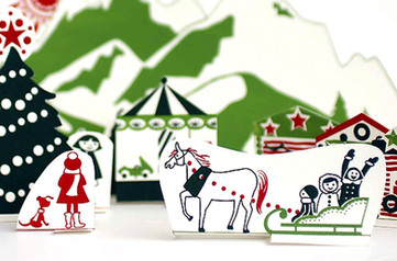 Screenprinted Christmas Village to cut out and play with.