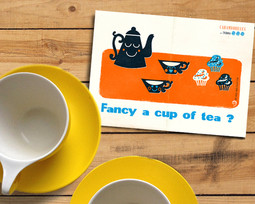 Retro Postcard Invitation ~ Fancy a cup of tea ? ~ Snail Mail Collection