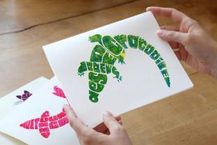 Hand-letterd & screen printed Crocodile Poster