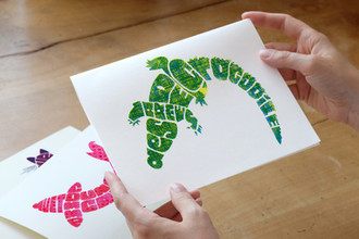 Hand-letterd & screen printed Crocodile Poster