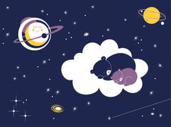 Screen printed poster ~ Sleeping Bears in Sky