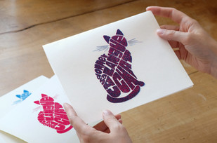 Handlettered and Screenprinted Cat Poster