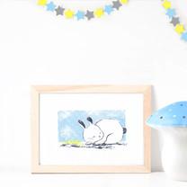 Screenprinted Poster ~ Sleeping Bunny