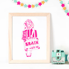 """Screenrpinted Poster """"Follow your Heart but take your Brain with you"""""""