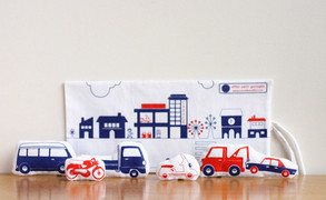 Screenprinted Fabric Cars & their travelling Garage