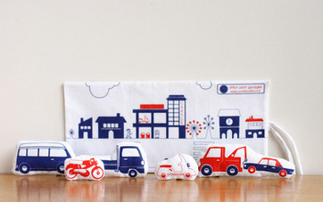 Screenprinted Fabric Cars & their travelling Garage
