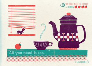 Retro Postcard Invitation ~ All you need is tea ~ Snail Mail Collection