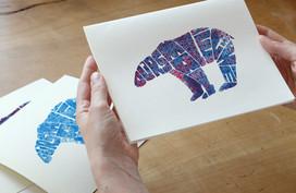 Hand-lettered & screen printed polar bear