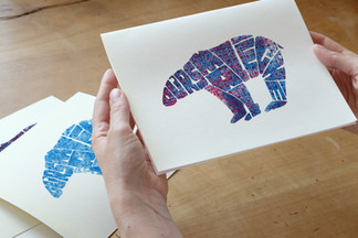 Hand-lettered & screen printed polar bear