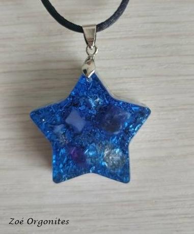 Pingente Orgonite Estrela Azul
