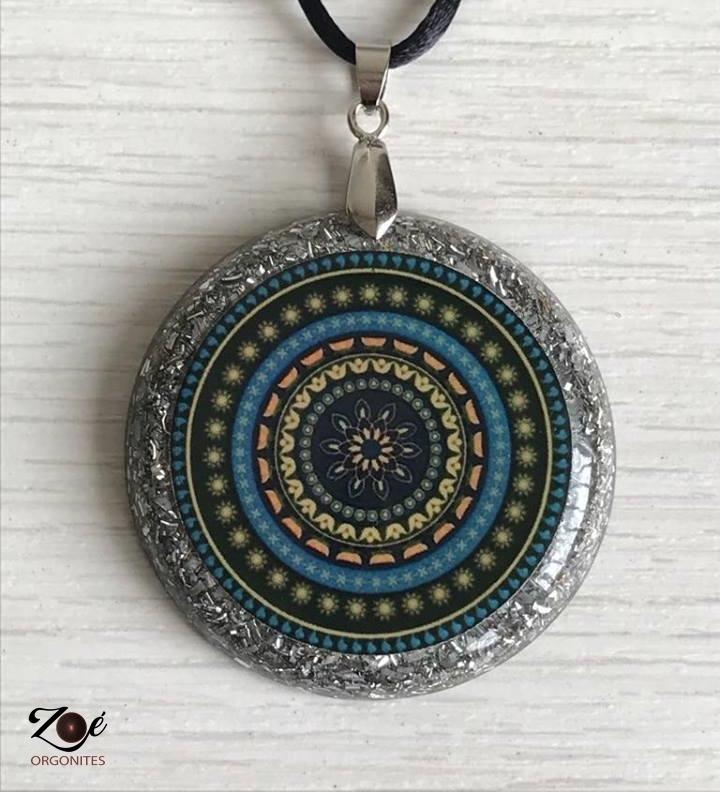 Orgonite Medalha Mandala Verde