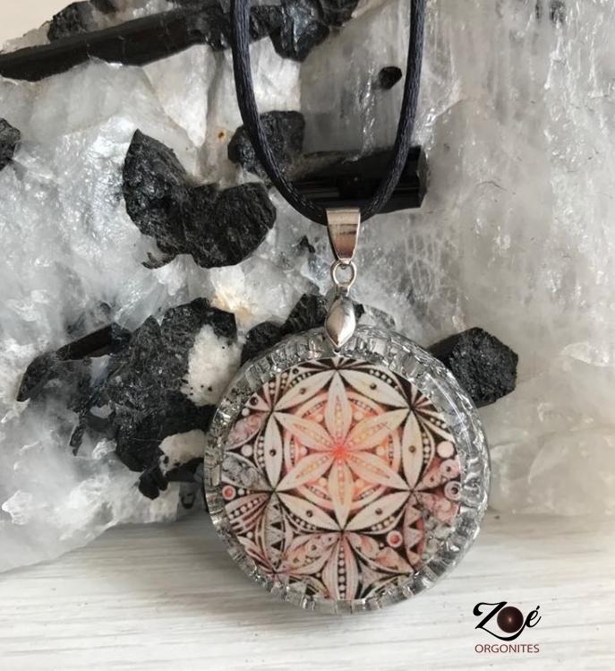 Pingente Orgonite Mandala Floral M