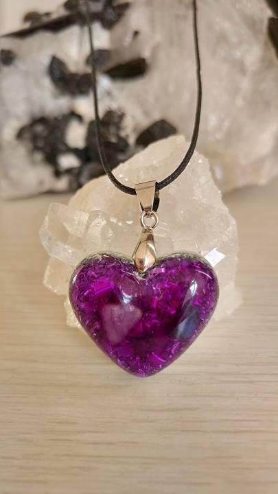 Orgonite Coração P Violeta