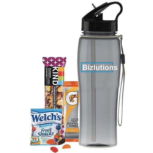 25 oz Water Bottle with Healthy Snacks