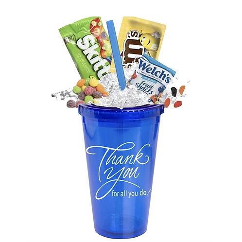 Thank You Candy Tumbler with Straw
