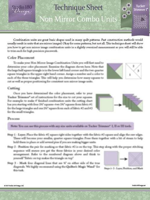 Non Mirror Combo Units Technique Sheet Studio 180 Designs