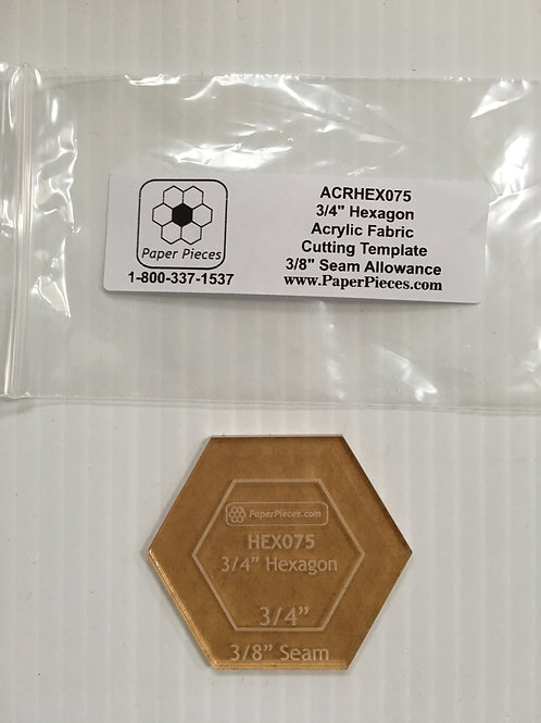 "3/4"" Hexagon acrylic template"