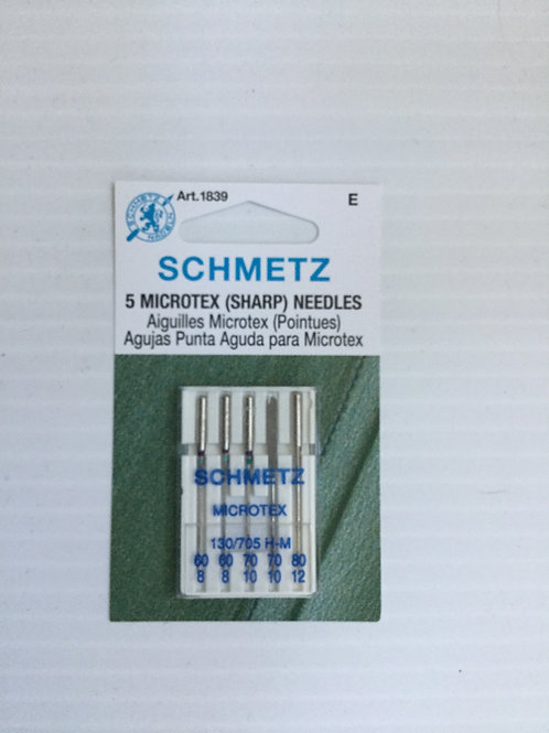 Schmetz Microtex needles Assortment Size 60 (2), 70 (2) and 80 (1)