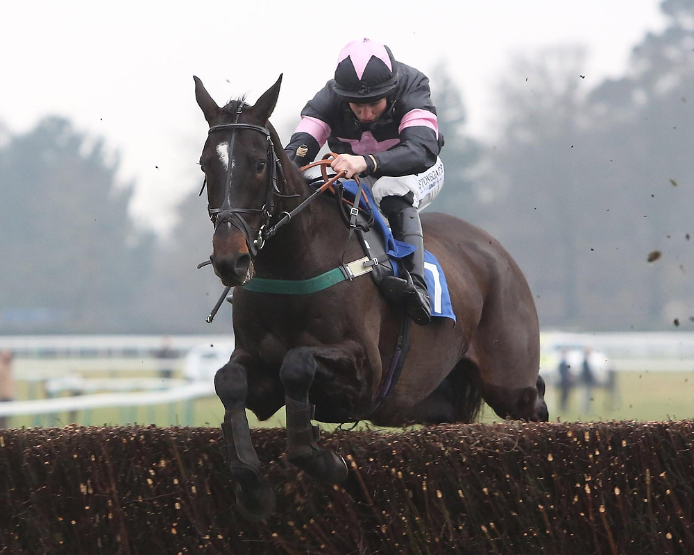 Jamrham on his way to winning with Jamie Moore on board.photo courtsey of Fontwell Park Photo's