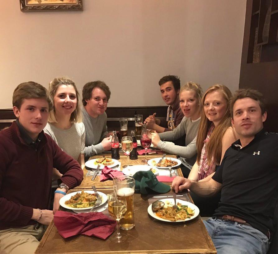 The team enjoying just a few platefuls of food!