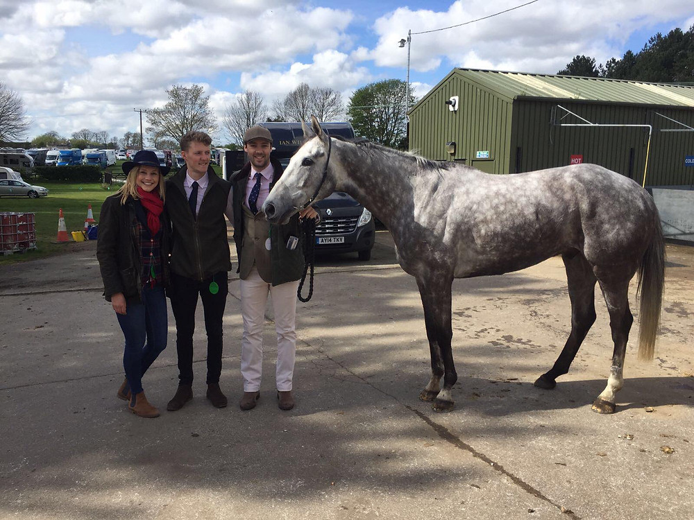 Caprice D'Anglais and connections looking very pleased after his run