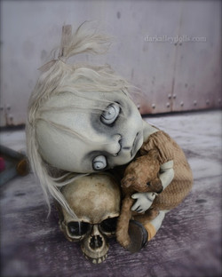 Gothic BJD Art Doll with a Scull.