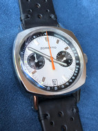 Silver date on leather