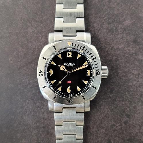 Moray 38 steel black pacman  dial vintage lume no date