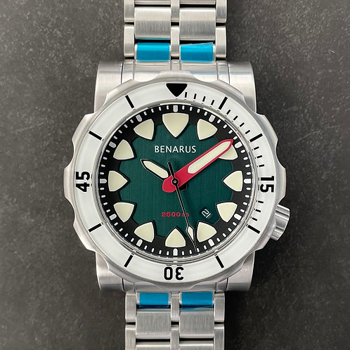 Megalodon brushed teal with BGW9 sapphire bezel