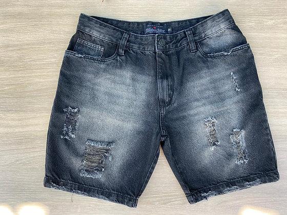Bermuda Jeans Destroyed Preta