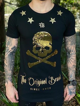 Camiseta Skull Paête Gold