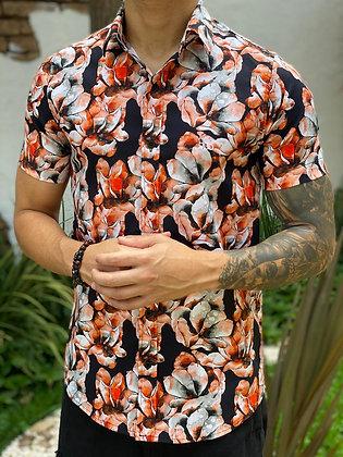 Camisa Tie Dye Flores Preta