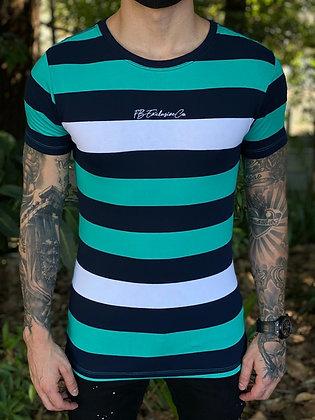 Camiseta Listrada Azul e Verde