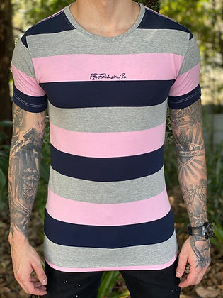 Camiseta Listrada Cinza e Rosa