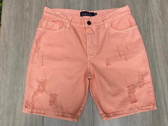 Bermuda Jeans Destroyed Salmão