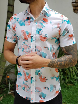 Camisa Roses Tie Dye Branca