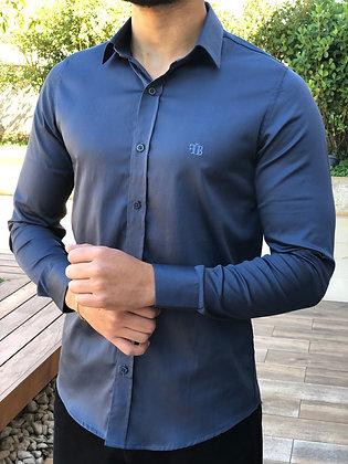 Camisa Azul Petróleo Acetinado